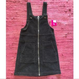 Black zip up corduroy overall dress